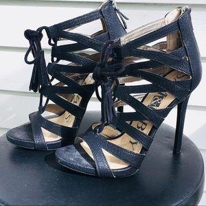 Sam & Libby Black Strappy Lace Up Heels Sz 7